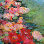 red flowers, floral, abstract
